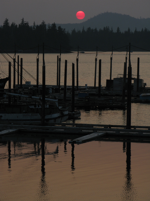 sunset over the Hydaburg Harbor, Hydaburg, Alaska