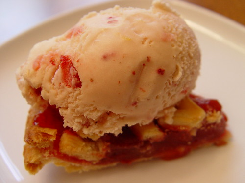 Rhubarb pie with home made (by me!) strawberry ice cream