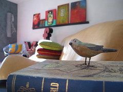 bird (xojy) Tags: red color art home birds modern corner painting photography interiors furniture letters books plaster pillows livingroom couch walls bertoia sfgirlbybay