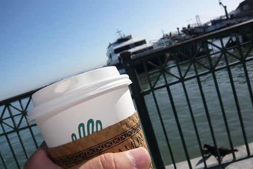 Drinking coffee and waiting for my boat