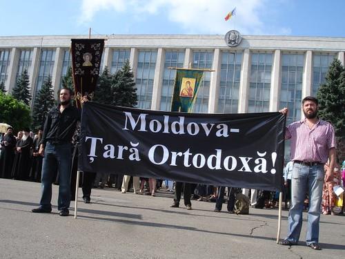 "Protestul Ortodox: plancarda ""Moldova - Ţară Ortodoxă"""