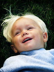 Dustin (intocollidingentropy) Tags: boy baby cute smile grass hair happy little sweet amish laugh blonde joyful laying