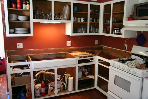 cabinets painted & old sink/countertop out