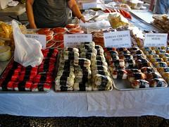 Musubis 'r' us! (Boots in the Oven) Tags: travel food usa chicken hawaii hotdog rice farmersmarket market spam hawaiian musubi bigisland hilo dumpling