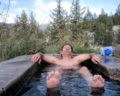 122 Scott Also Enjoys A Soak (saschmitz_earthlink_net) Tags: california trees plants water tub sierranevada hotspring 2009 highsierra soaking sierranationalforest monohotsprings scottschmitz
