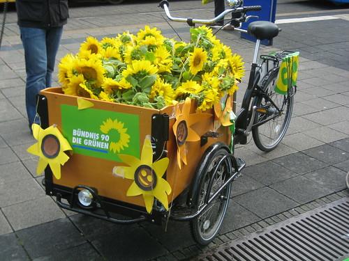 Sonnenbelühmtes, glukosebetriebenes Wahlkampfmobil