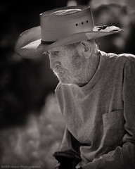 Weathered II (Mason Photographics) Tags: blackandwhite sepia blackwhite cowboy oldman portraiture potrait cowboyhat blackandwhiteportrait oldcowboy