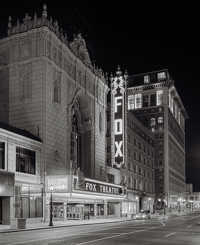 Fox Theatre, in Saint Louis, Missouri, USA - view at night