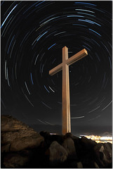Who is the Center of Your Universe? (Extra Medium) Tags: california longexposure mountain night stars truth heaven christ cross god hiking hike christian believe bible christianity idolatry simivalley startrails exodus2034