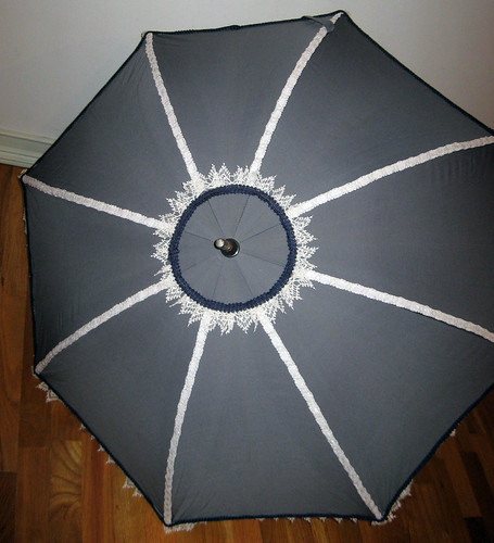 Grey, Ivory, and Blue Parasol