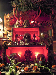 Sacred Red Day of the Dead Altar (Walker Dukes) Tags: flowers red orange plants white holi