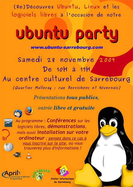 Affiche Ubuntu Party Sarrebourg 2009