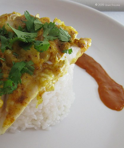 curry cod with spicy peanut sauce