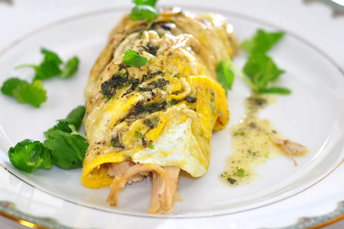 chicken omelet with compound butter