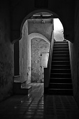 The Missing Ghost (Pensiero) Tags: light shadow blackandwhite house casa arch floor ghost ombra steps porta scala sicily arco fantasma luce sicilia favignana