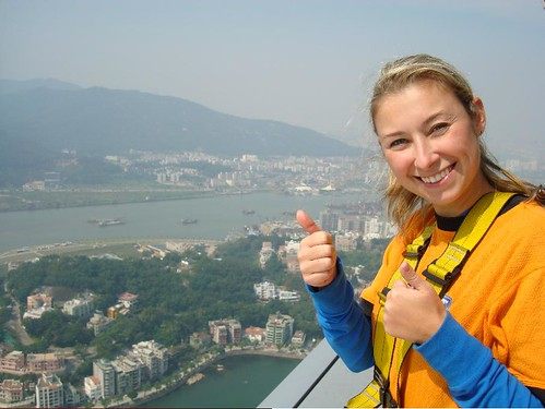 Getting ready to plunge off the Macau Tower