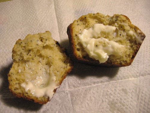 Buttered lemon poppy seed muffin