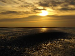Sunset at St Annes on Sea (Tony Worrall Foto) Tags: sea sun reflection beach nature wet water beautiful sunshine weather clouds grit outdoors gold golden evening seaside nice sand shiny glow shadows view natural northwest dusk sandy low scenic lancashire seafront sunlit seashore stannes damp idealic lancs