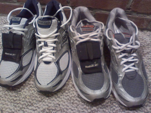 2 pair of shoes; laced  key pocketed and ready for the next run