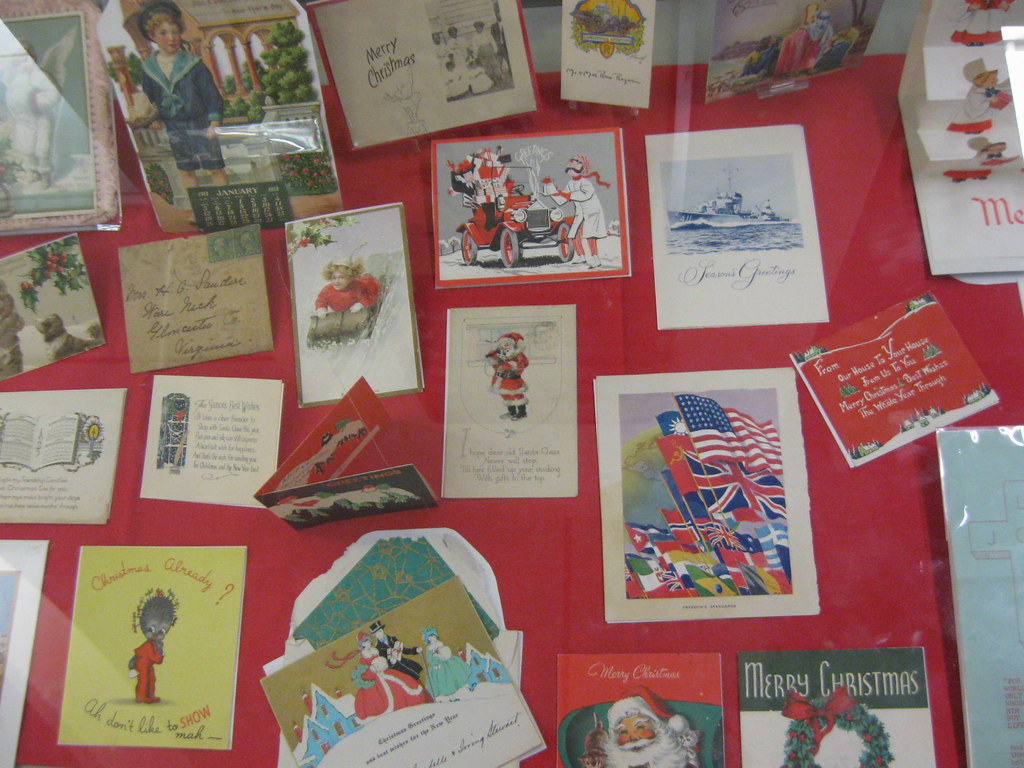 "Middle Part of ""Seasons Greetings: Holiday Cards"" Exhibit Case"