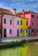 Colors of Burano (janusz l) Tags: trip venice houses italy colors reflections geotagged boat canal fishing day lace north lagoon venetian hdr burano janusz leszczynski geo:lat=45486215 geo:lon=12417836 001715