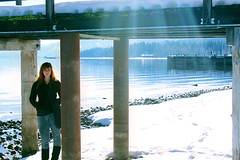 Lake Tahoe (Oh Captain - My Caitlin) Tags: sun mountain lake snow tree water girl rock stone boat dock model friend tahoe teen shelby rays ecklund