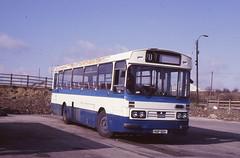 TRIMDON MOTOR SERVICES VUP513V IS SEEN AT TRIMDON GRANGE DEPOT ON 3 APRIL 1988 (47413PART2) Tags: tms vup513v leyland leopard bus