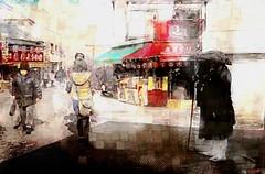 Mendicant buddhist monk (Bamboo Barnes - Artist.Com) Tags: photo painting japan vivid digitalart bamboobarnes red black yellow buddhistmonk mendicant historical newyear templetown shop asia oriental women light shadow