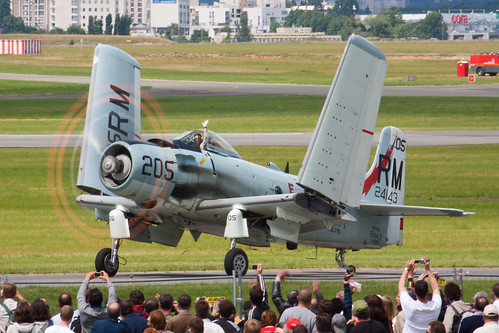 Warbird picture - A-1 Skyraider with running engine and folded wings at the Paris Air Show in 2009