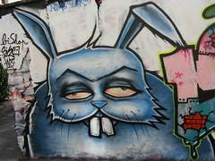 Rabbit (//DannyBoy//) Tags: streetart paris rabbit graffiti bishop weight lapin jeanspez 7ho