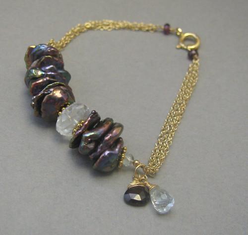 keishi pearls and aquamarine bracelet