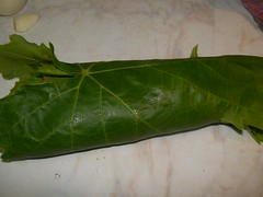 asian marinade meat wrapped in vine leaves