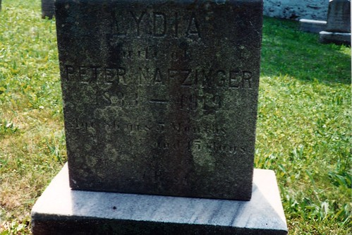 Tombstone Lydia (wife of Peter Nafzinger)