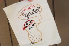 Pirate Peanut (wildolive) Tags: embroidery pirate peanut stitching goober wildolive