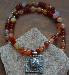 Passion Fruit Necklace (WiseWolfGemstones) Tags: silver wolf handmade fine jewelry wise etsy beaded gemstones restorative carnelian stabilizing