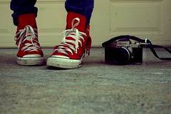 Red Bandana Hi-Tops (Sarah Ching) Tags: camera old blue red feet skinny concrete shoe high nikon purple garage magenta sneakers jeans converse crop hi niko bandanna laces nikomat shoelaces hitops redhitops