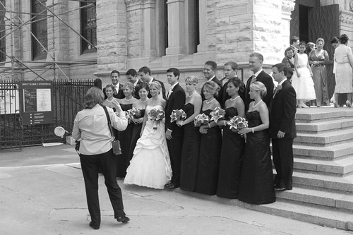 posing on the steps of Holy Name cathedral