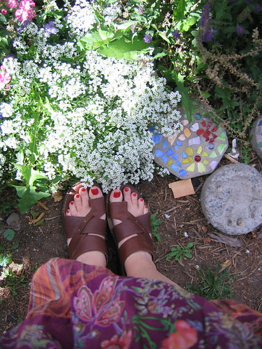 Toes in the flowers