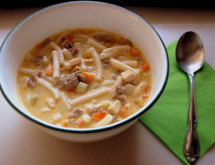 Macaroni and Cheese Beer-ger Soup
