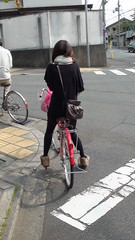 Japanese woman, bike