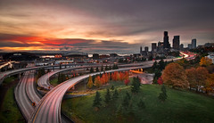 Fall Arrives in Seattle (Deej6) Tags: seattle park bridge autumn trees fall field skyline washington downtown pacific northwest i5 stadium freeway sound safeco rizal i90 puget seahawk d80 platinumheartaward tokina1116 platinumpeaceaward