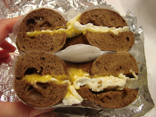 Egg White and Cheese Bagel Sandwich from Times Square Bagels