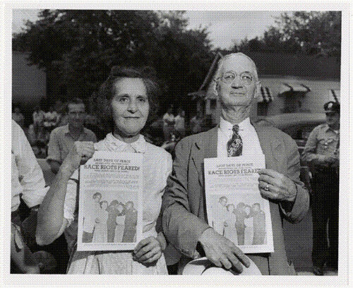 Photograph of Couple Protesting Desegregation Filed in the Case of R. W. Kelley v. City of Nashville, 1957