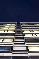The Edge (Hannes R) Tags: blue windows sky blur building window wall night stars star hotel sweden stockholm motionblur clarion norrabantorget clarionhotelsign