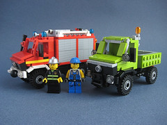 Limey Mog and Fire Mog (nolnet) Tags: lego lime unimog 1300