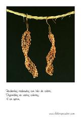 Enredo dorado 4  (Fieltro Pecador) Tags: mujer moda craft colores crdoba regalo artesana amano pendientes alambre lunares crculos barato hechoamano cuadrados fieltro rectngulos algodn pecador fieltropecador
