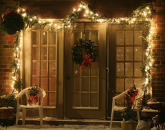 From our house to yours (lynne_b) Tags: christmas winter decorations holiday snow festive lights illinois december seasons nightshot patio wreath seasonsgreetings explored twtme travelsofhomerodyssey