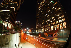DownTown L.A. (dj murdok photos) Tags: longexposure urban losangeles downtown cityscape nightlights sony sigma fisheye alpha starburst lightstreaks tallbuildings nitelites richcolors a700