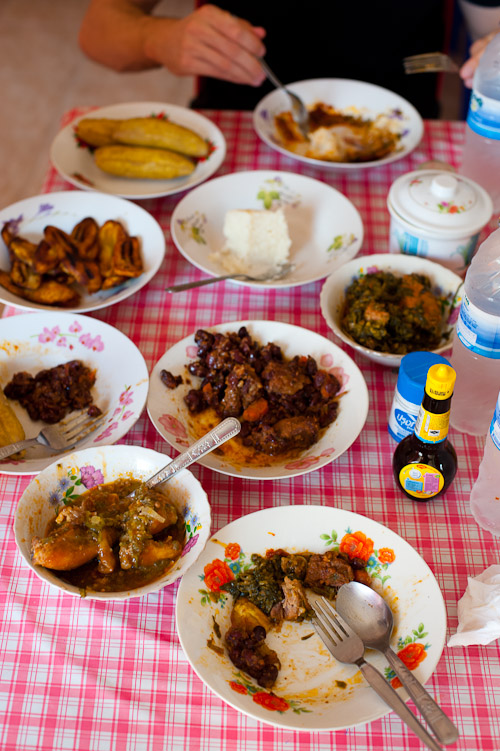 The spread at Amirra, a Cameroonian restaurant in Bangkok