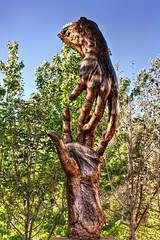 Hands (CEBImagery.com) Tags: trees arizona sky sculpture sun bronze sedona hdr